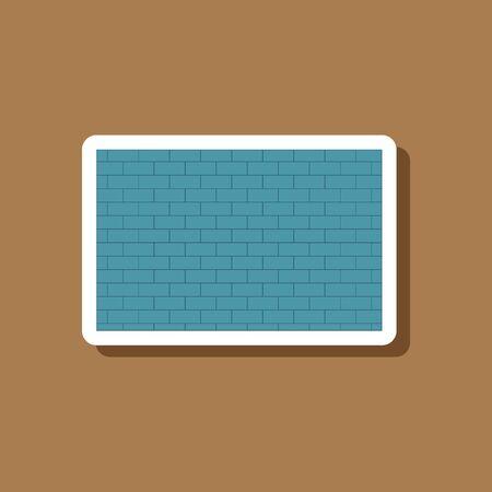 paper sticker on stylish background Brick wall