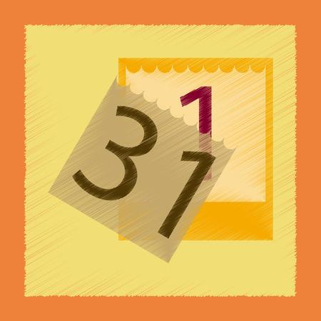 31: flat shading style icon tear-off calendar
