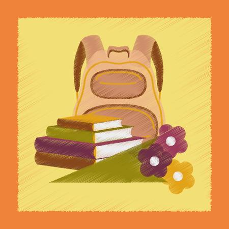 bookbag: flat shading style icon book bag flowers