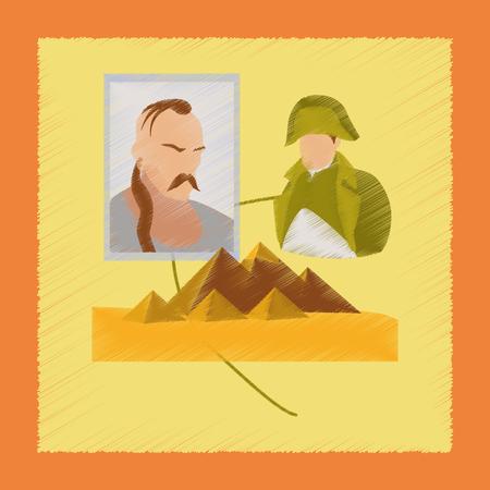 flat shading style icon History Lesson pyramid Illustration