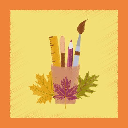 semicircle: flat shading style icon pencils pens ruler