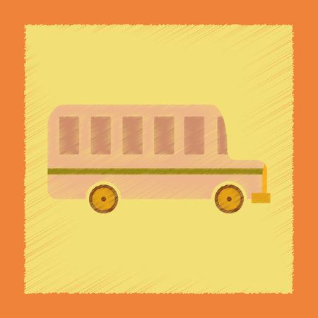 highschool: flat shading style icon school bus