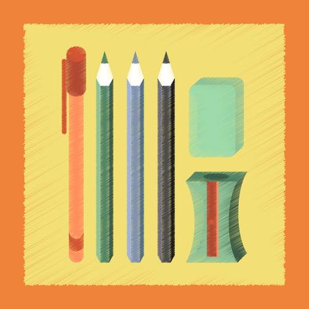 pen and marker: flat shading style icon pencil eraser pen Illustration