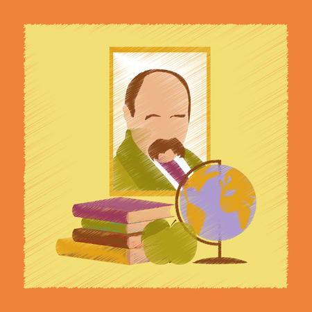 flat shading style icon Ukrainian literature lesson Illustration