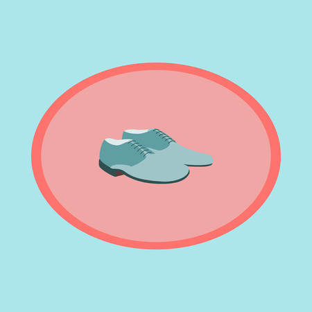 Icon in flat design fashion footwear Pair of men shoes Illustration