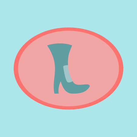 Icon in flat design fashion footwear High-heeled boots