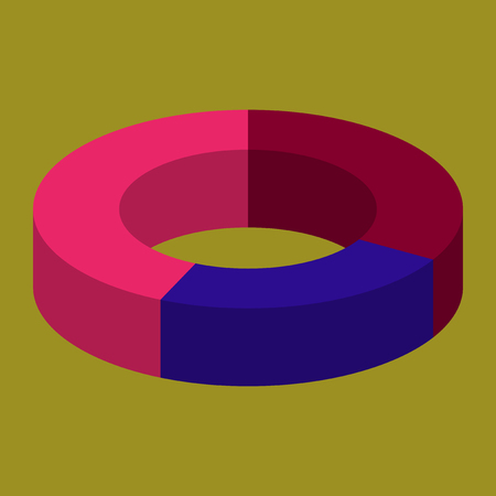 dimensional: flat icon on stylish background Pie chart Illustration