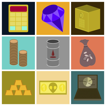 money packs: assembly of flat icons Economics business finance