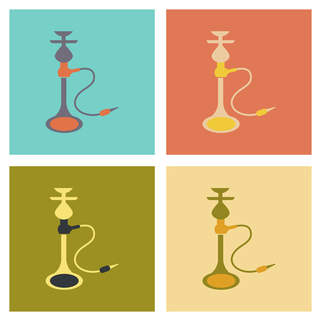 shisha: assembly flat icons Eastern smoke hookah