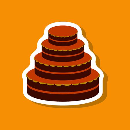 blueberry muffin: Sweet dessert in paper sticker wedding cake Illustration