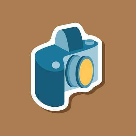 paper sticker on stylish background camera