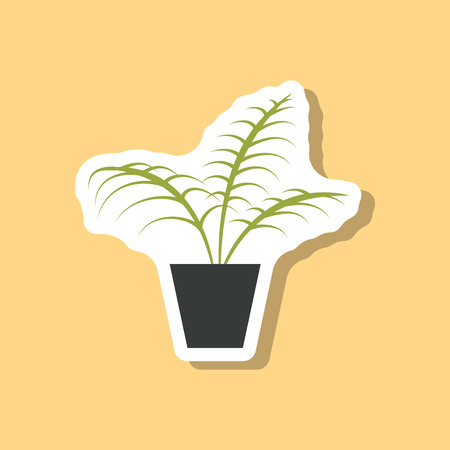 cultivate: paper sticker on stylish background Ficus Illustration