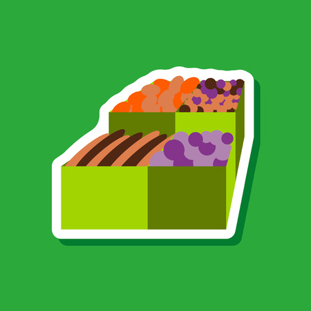 give: paper sticker on stylish background Food boxes