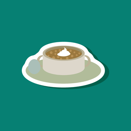Sweet dessert in paper sticker bread-soup with dried fruits and cream