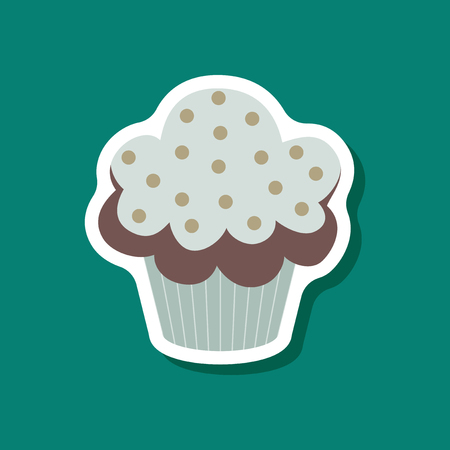 calorie: Sweet dessert in paper sticker Muffin