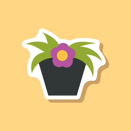 paper sticker on stylish background Chrysanthemums in a pot Illustration
