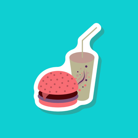 calorie: paper sticker Burger and soda Illustration