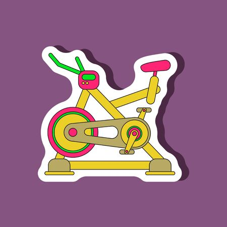 paper sticker on stylish background Bicycle exercise