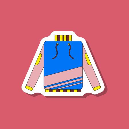 paper sticker on stylish background skiing sweater Illustration