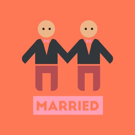 gay men: flat icon on stylish background gay newlyweds