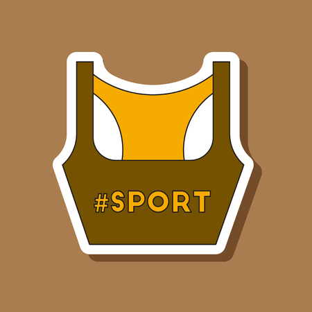 activewear: paper sticker on stylish background Sports top