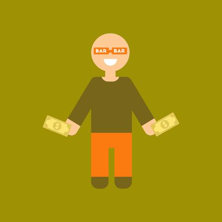 losing money: Flat icon on stylish background a poker man player.