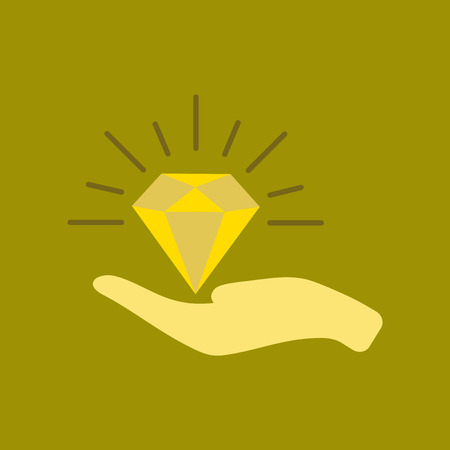 A flat icon on stylish background poker Diamond in the hand.