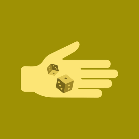 A flat icon on stylish background of poker dices on hand.