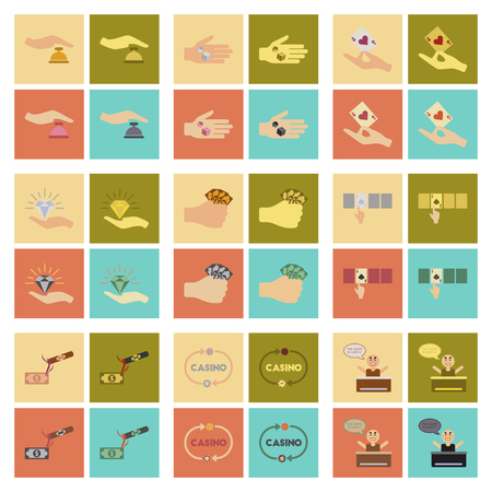 An assembly flat icons poker game.