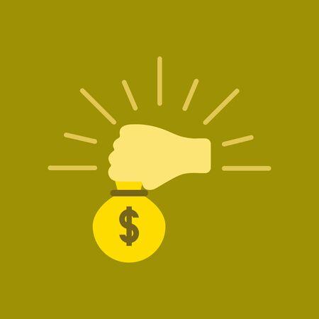 Flat icon stylish background hand holding poker money bag.