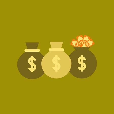 Flat icon on stylish background money bag.