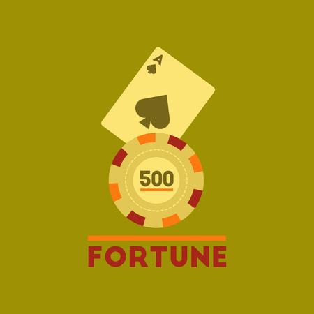 flat icon on stylish background Fortune chip card Illustration