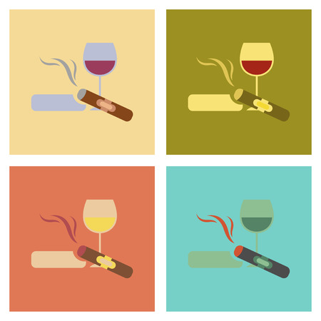 sobriety: assembly flat icons poker cigar glass of wine