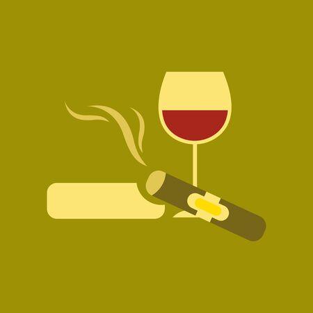 A flat icon stylish background poker cigar glass of wine.
