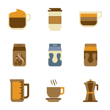 brewed: Colorful assembly flat icons coffee