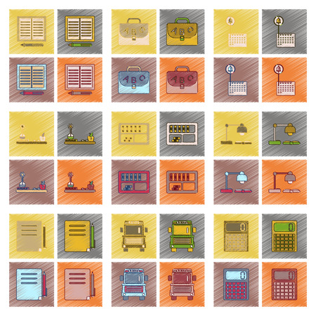 university application: assembly flat shading style icon education school supplies Illustration