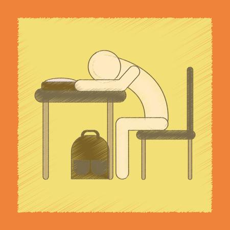 평면 음영 스타일 아이콘 학생 책상에서 자고