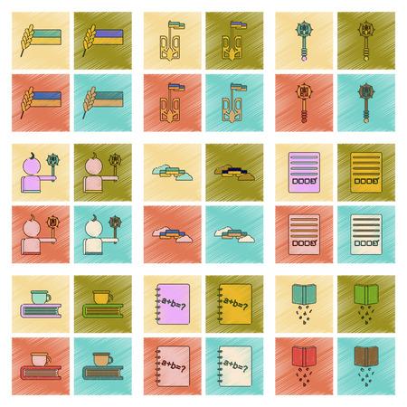 Assembly flat shading style icon Ukrainian school lessons