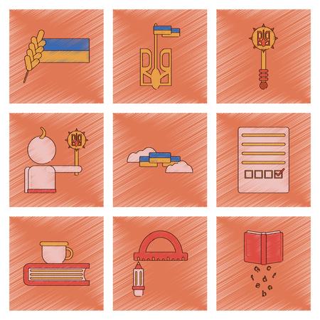 Assembly flat shading style icon of Ukrainian school lessons Illustration