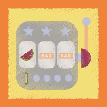 losing money: Flat shading style icon slot machine