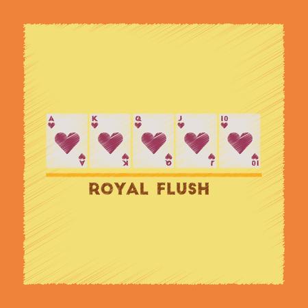 straight flush: flat shading style icon royal flush