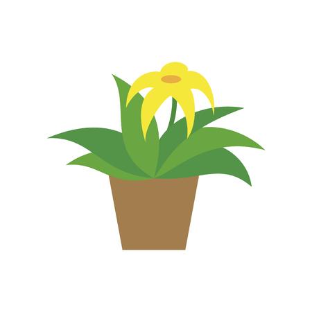 Icon in flat design Flowering pot