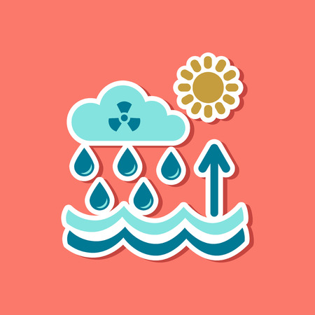 paper sticker on stylish background of Radioactive cloud and rain