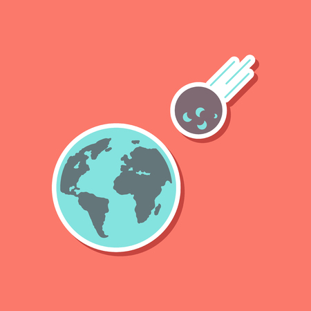 paper sticker on stylish background of nature meteorite earth