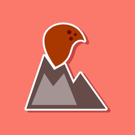 paper sticker on stylish background of nature volcano erupting