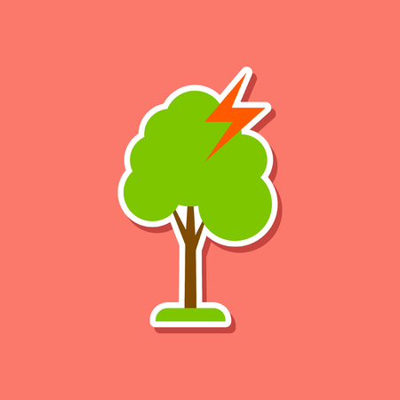 paper sticker on stylish background of lightning tree Illustration
