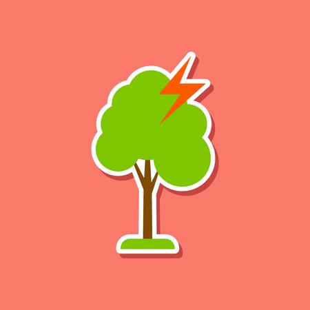 struck: paper sticker on stylish background of lightning tree Illustration