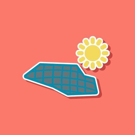 paper sticker on stylish background of solar panels Illustration
