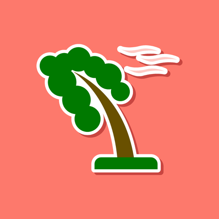 paper sticker on stylish background of strong wind tree Illustration