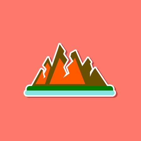 granite: paper sticker on stylish background of cracks mountains Illustration